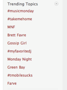 Trending topics--in case you forget what day of the week it is, these TT will tell you.