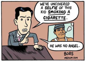 Screenshot of Matt Bors' depiction of Michael Brown in Medium's The Nib on August 18, taken from the Washington Post's website.